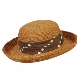 BC Hats Polk-a-Fun Brown Raffia w/Polka Dot Band, O/S