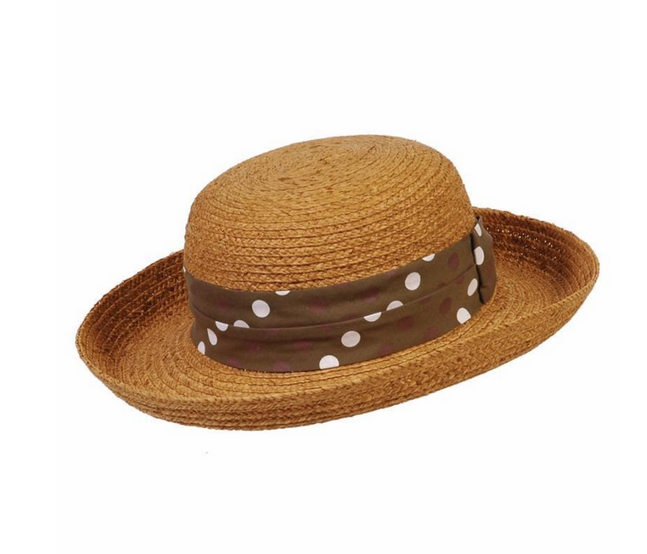 BC Hats Polk-a-Fun Natural Raffia w/Polka Dot Band, O/S