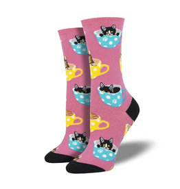 Socksmith W's Cat-Feinated, Pink