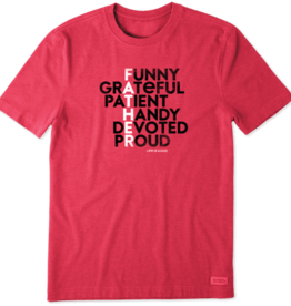Life is Good M's Father Traits Crusher Tee, Heather Americana Red