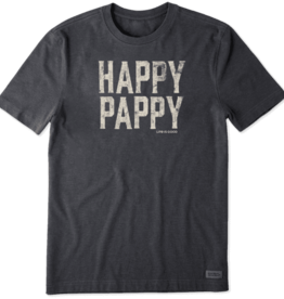 Life is Good M's Happy Pappy Crusher Tee, Heather Night Black