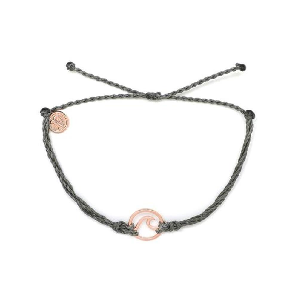 Puravida Rose Gold Wave Bracelet, Grey