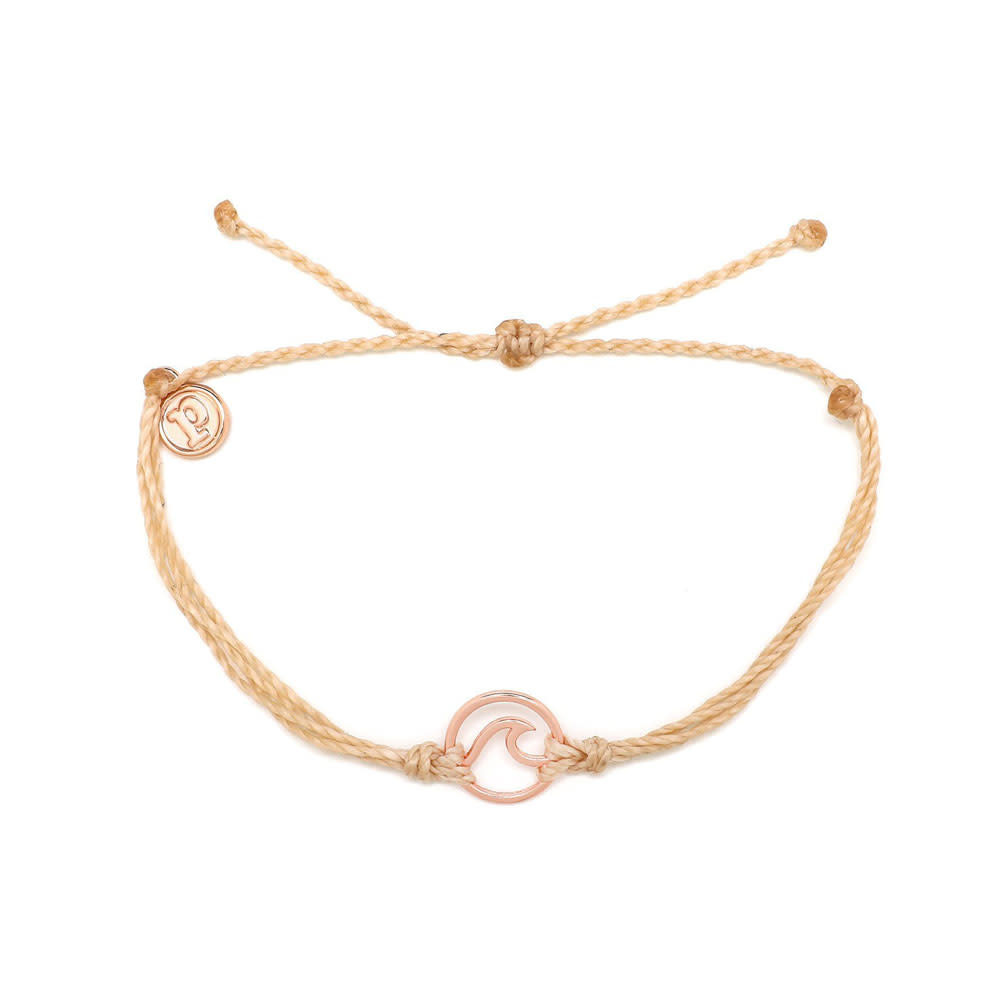 Puravida Rose Gold Wave Bracelet, Cream