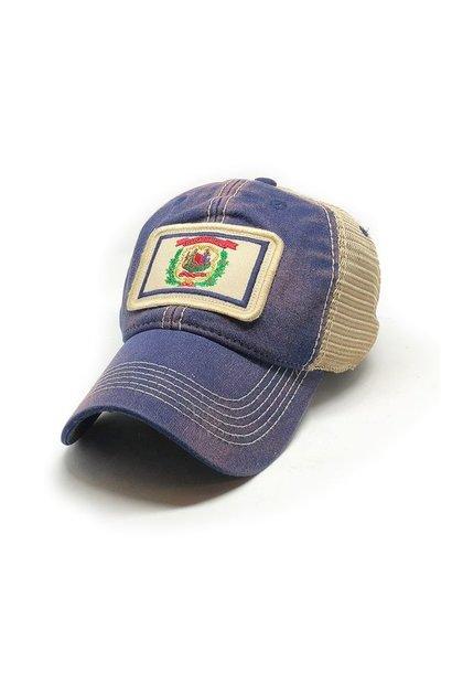 West Virginia Flag Trucker Hat, Americana Blue