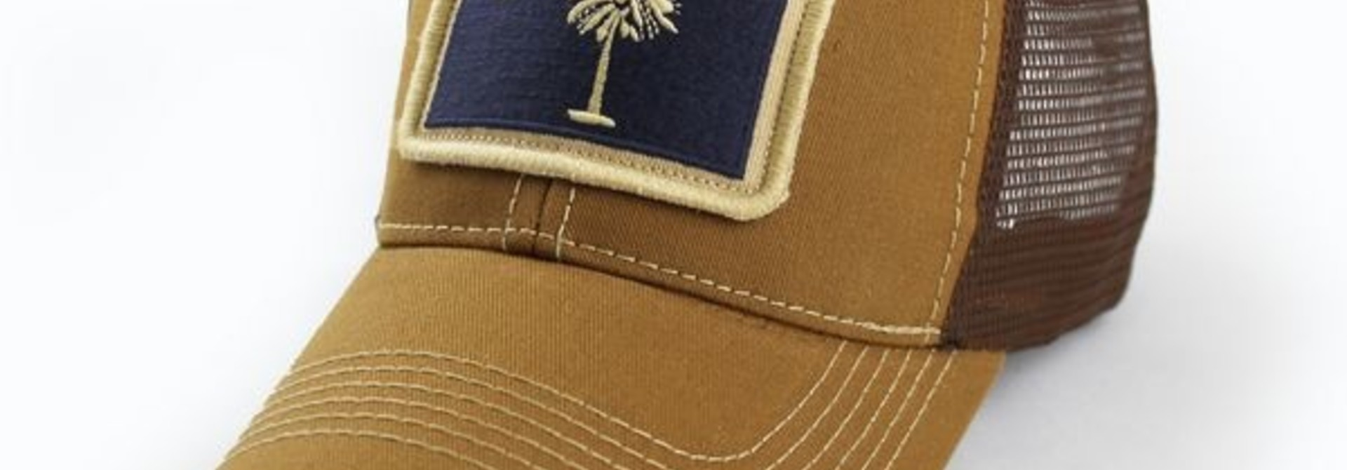 South Carolina Flag Trucker Hat, Structured, Tobacco Brown
