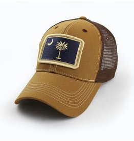 S.L. Revival Co. South Carolina Flag Trucker Hat, Structured, Tobacco Brown