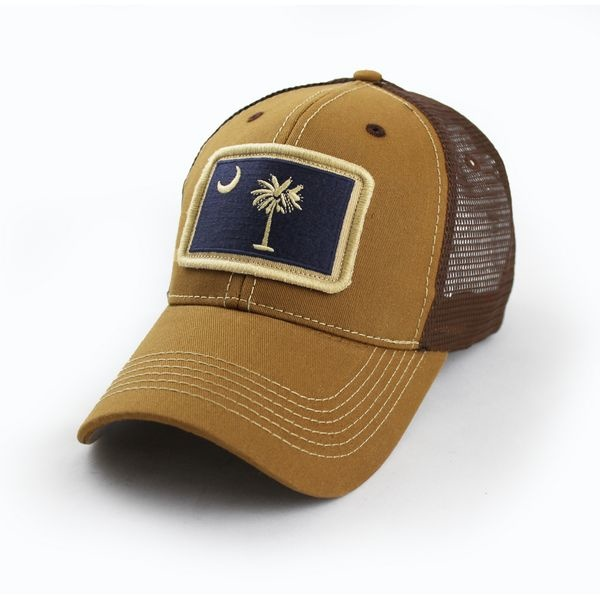 South Carolina Flag Trucker Hat, Structured, Tobacco Brown-1
