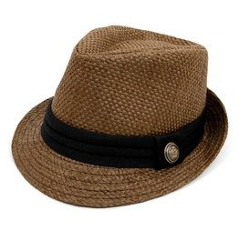 Basket Weave Fedora w Black Band, Taupe S/M