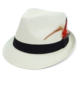 Woven Trilby Fedora w Feather, Ivory S/M