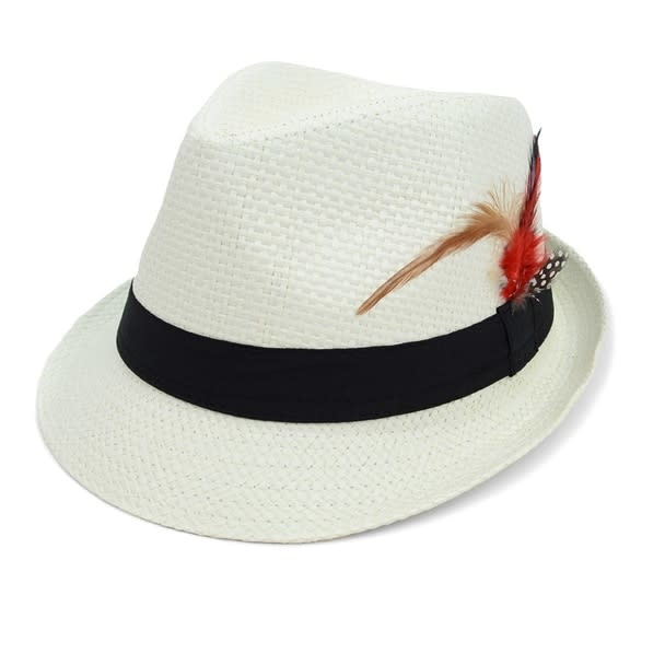 Woven Trilby Fedora w Feather