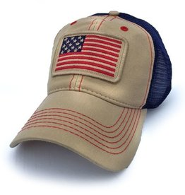 S.L. Revival Co. Stars & Stripes 1812 USA Everyday Trucker Hat, Natural Canvas