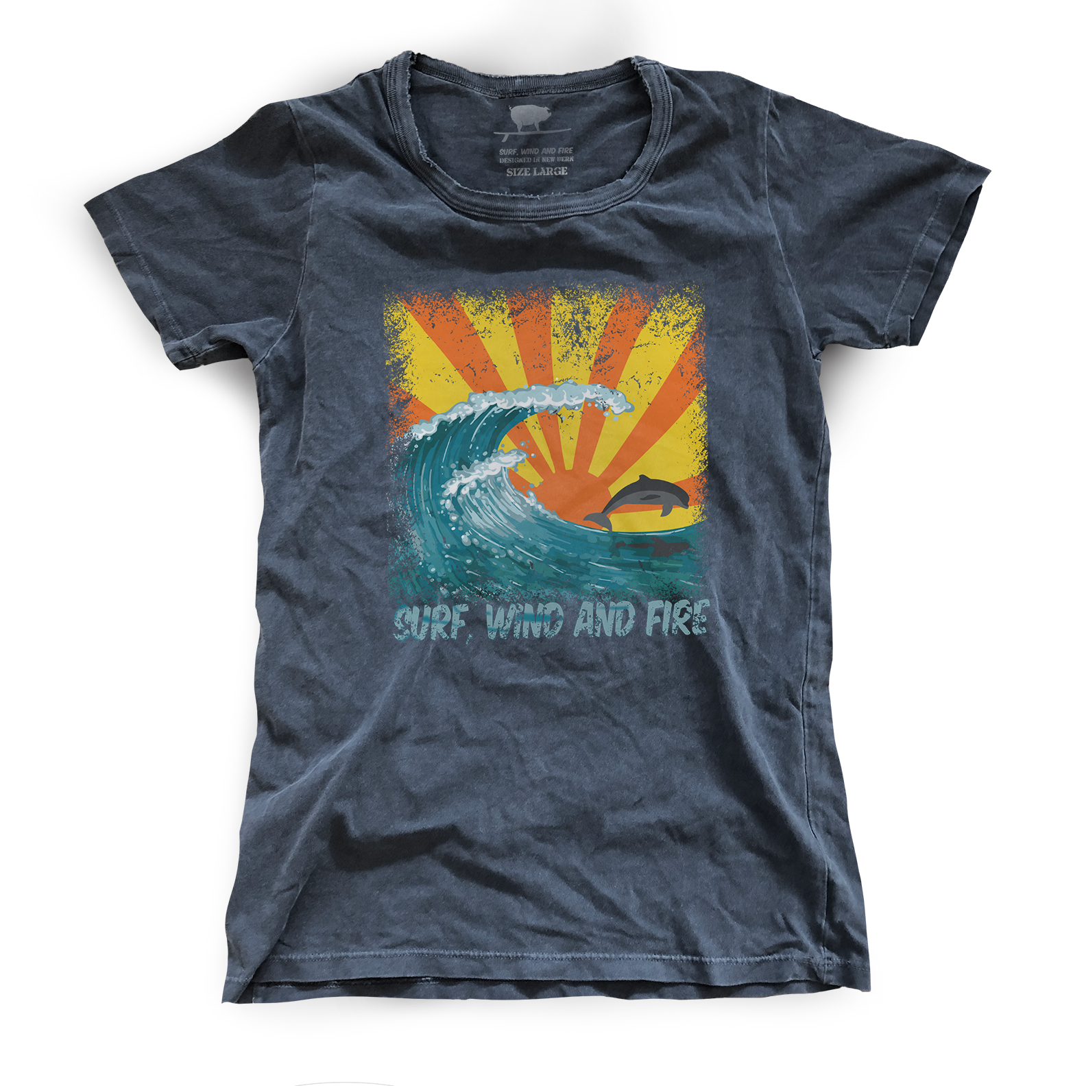 Surf, Wind and Fire Jumping Dolphin Tee, Vintage Black