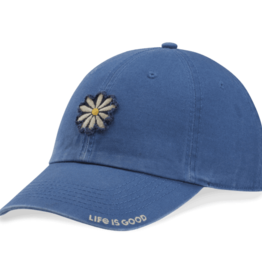 Life is Good Tattered Chill Daisy Applique Hat, Vintage Blue