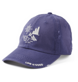 Life is Good Sunwashed Chill Lakeshore Hat, Darkest Blue