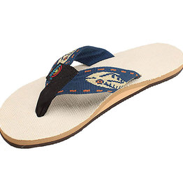 Rainbow M's Natural Hemp Top Sole, Navy/Gold Fish Strap