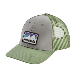 Patagonia Shop Sticker Patch LoPro Trucker Hat, Drifter Grey w/Matcha Green