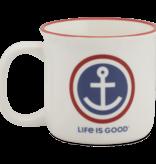 Life is Good Anchor Coin Happy Camper Mug