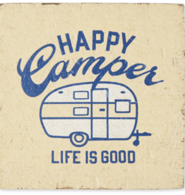 Life is Good Happy Camper Small Wooden Sign, Happy Yellow