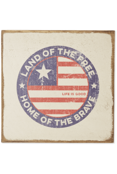 Land Of The Free Coin Large Wooden Sign, Bone