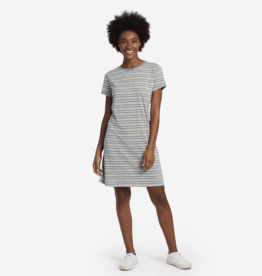 Life is Good W's Smooth Tee Dress, Watercolor Stripe, Heather Grey