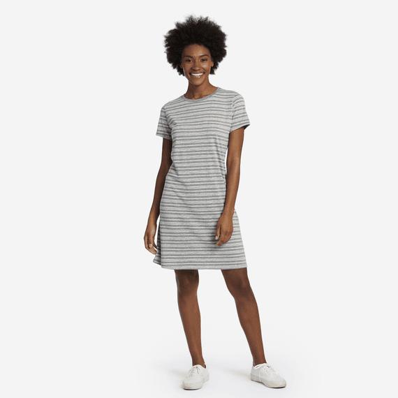 Life is Good W's Smooth Tee Dress, Watercolor Stripe, Heather Grey