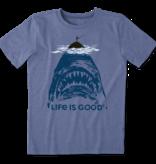 Life is Good Boy's Cool Tee, Shark Fish, Vintage Blue