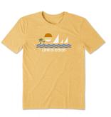 Life is Good M's Cool Tee, Minimalist Beach, Baja Yellow