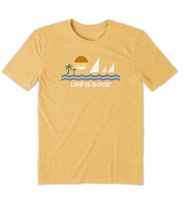 Life is Good M's Cool Tee, Minimalist Beach, Baja Yellow