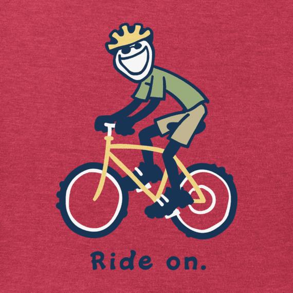 Life is Good Boy's Vintage Crusher, Bike Jake, Heather Americana Red