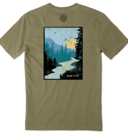 Life is Good M's Crusher Tee, Soak It In, Fatigue Green
