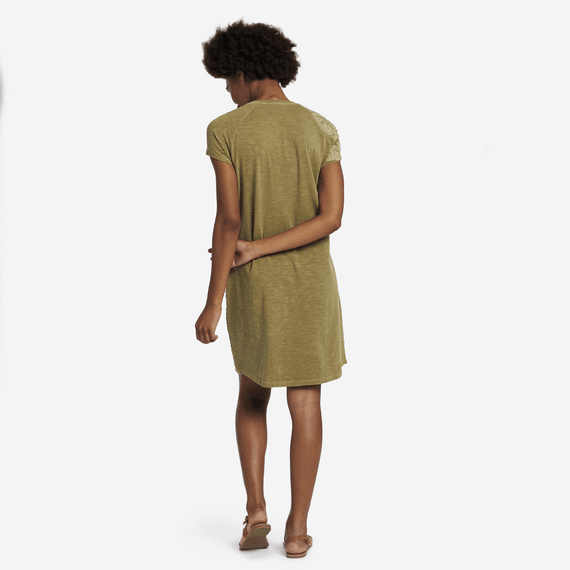 Life is Good W's Hibiscus Embroidery Slub Tee Dress, Fatigue Green