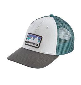 Patagonia Shop Sticker Patch LoPro Trucker Hat, White w/Forge Grey