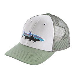 Patagonia Fitz Roy Tarpon LoPro Trucker Hat, White w/Celadon