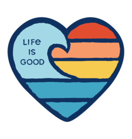 Life is Good Small Die Cut Wave Heart Sticker