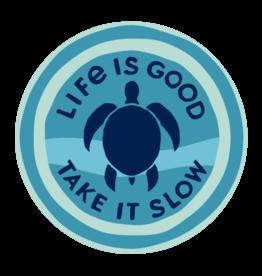 "Life is Good Take It Slow Turtle, 4"" Circle Sticker"