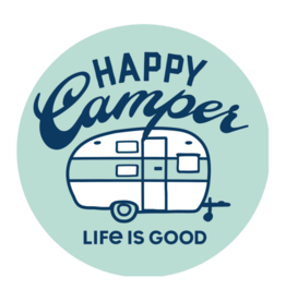 "Life is Good Happy Camper 4"" Circle Sticker"