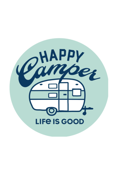 "Happy Camper 4"" Circle Sticker"