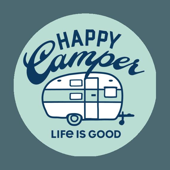 "Happy Camper 4"" Circle Sticker-1"