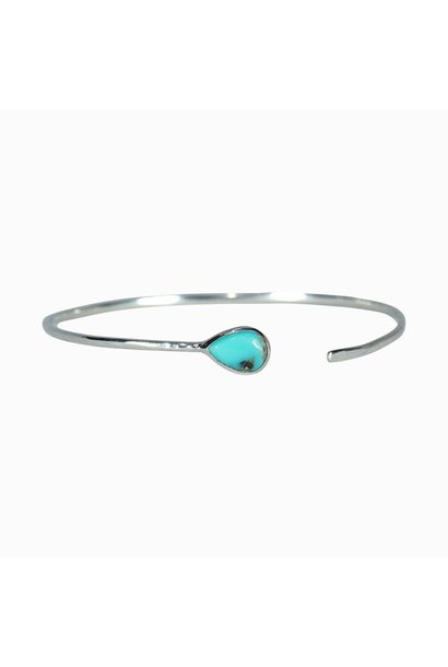Turquoise Open Stone Cuff, Silver
