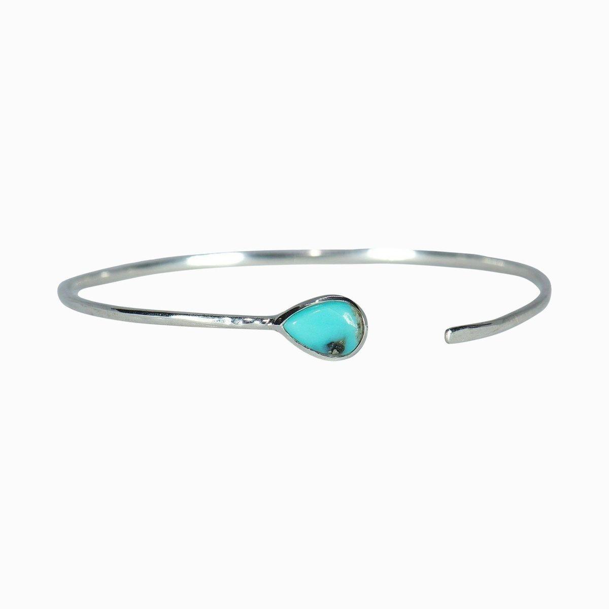 Puravida Turquoise Open Stone Cuff, Silver