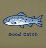 Life is Good M's Vintage Crusher Tee, Good Catch, Fatigue Green