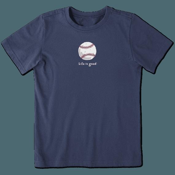 Life is Good Kid's Vintage Crusher Tee, Baseball, Darkest Blue