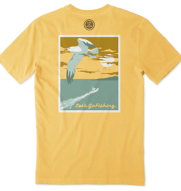 Life is Good M's Crusher Tee, Let's Go Fishing, Baja Yellow