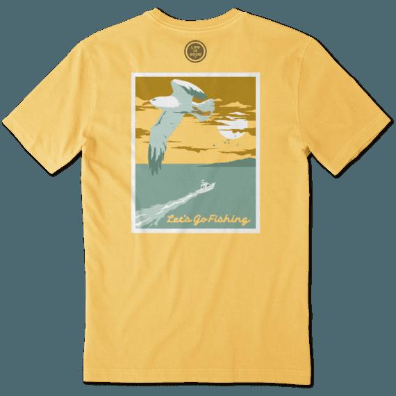 Life is Good M's Crusher Tee, Let's Go Fishing, Baja Yellow