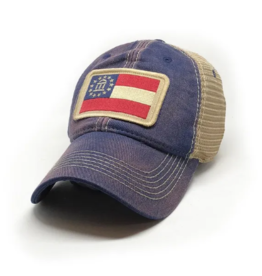S.L. Revival Co. Georgia Flag Trucker Hat, Navy