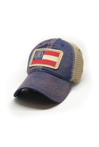 Georgia Flag Trucker Hat, Navy