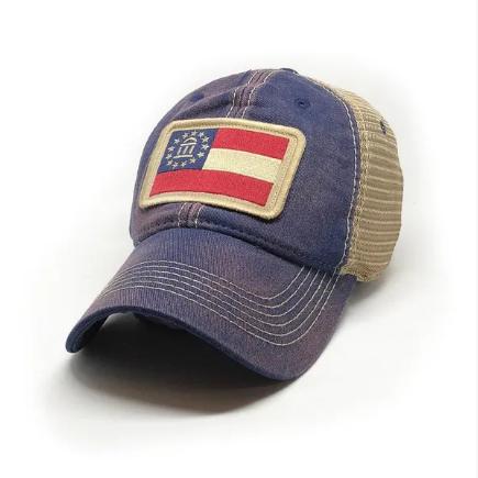 Georgia Flag Trucker Hat, Navy-1