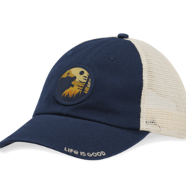 Life is Good Soft Mesh Back Cap, Bear Hike, Darkest Blue