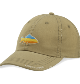 Life is Good Sunwashed Chill Cap, Sunset Fish, Fatigue Green