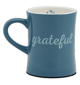 Life is Good Diner Mug, Grateful, Seaport Blue